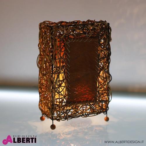 Lampada tavolo etnica fibra naturale intrecciata H 41cm