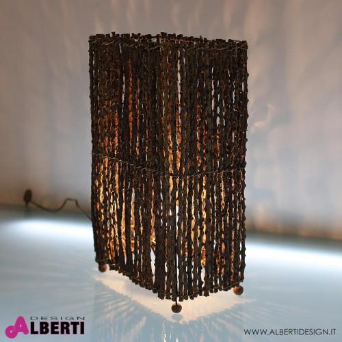 Lampada da tavolo rettangolare legnetti tropicali MANGGAR H 50 cm