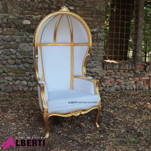 Poltrona VICT barocco gold/white Alcantara. 78x80x163