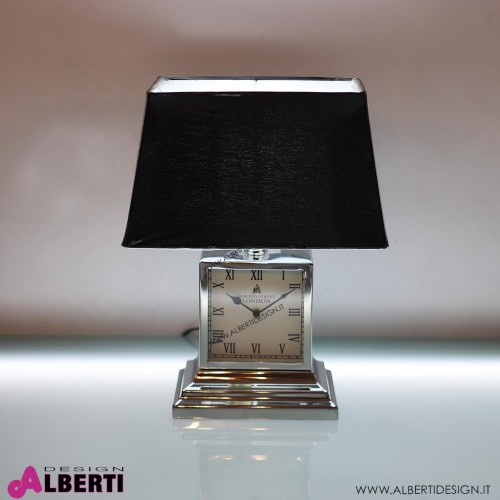 962 HK101548_a Lampada e orologio in metallo d'appoggio H 46cm