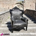 Poltrona barocco Marsiglia Kroko nero con pelle eco stampata effetto coccodrillo 83x83x115