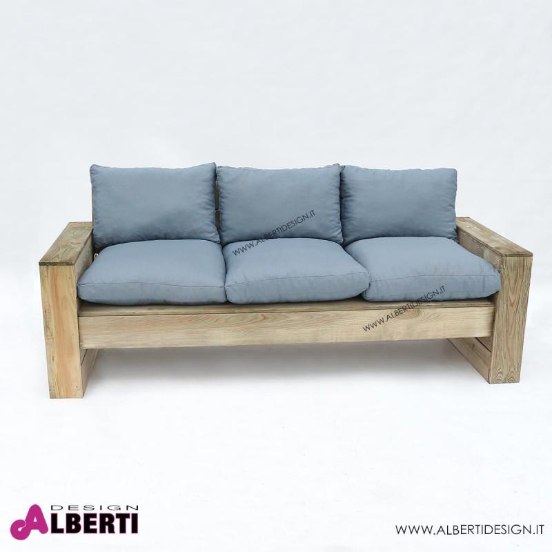 950 ZDPM125_f Divano in legno per esterno Mantova, in pino impregnato, 198x75xh42/82 cm
