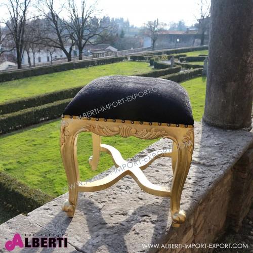 Sgabello barocco basso gold /black simil-Alcantara
