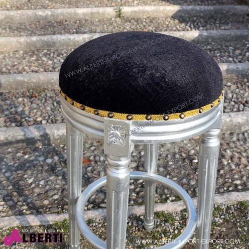 962 BASGBARSL^BAL_b Sgabello BAR barocco senza schienale silver/black