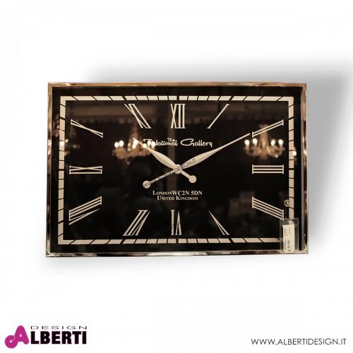 Orologio rettangolare quadrante NERO numeri romani 76x51x5 cm