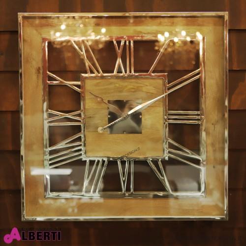 Orologio da muro quadrato in Legno con numeri romani 76x5x76 cm