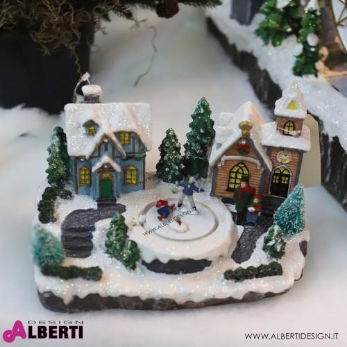 Villaggio piccolo Illuminato con luci e piattaforma in movimento