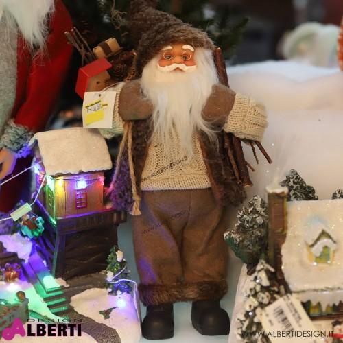 Babbo Natale con sacco marrone H 30cm