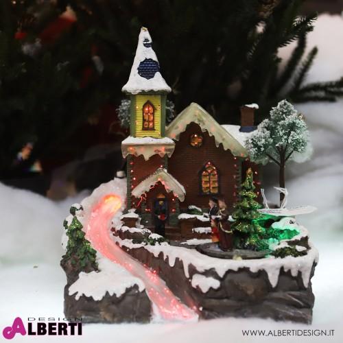 Villaggio Natale illuminato con musica 30 cm