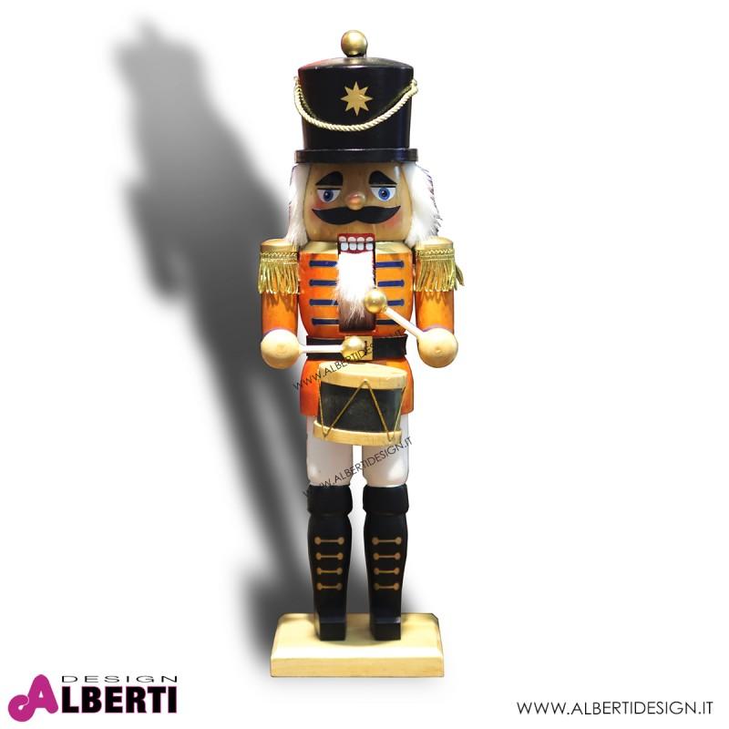 Soldato Schiaccianoci in legno con tamburo H 44 cm