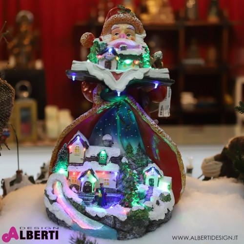 Babbo Natale con case e luci LED