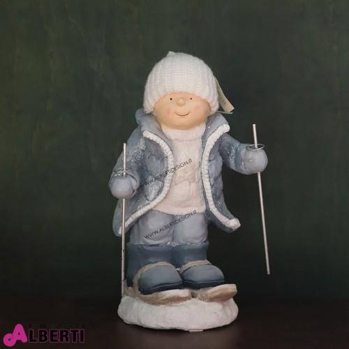 Statua bambini in magnesio su sci H 54 cm