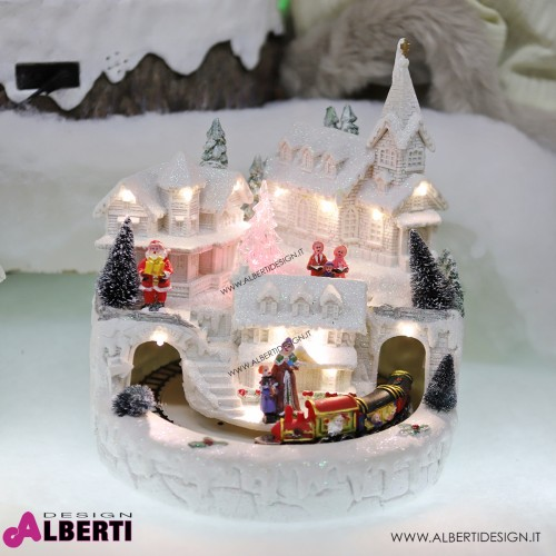 Scena Natale bianco con luci e movimento 23 cm