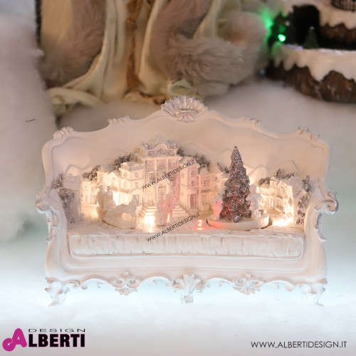 Divano con villaggio natalizio animato bianco H 17cm