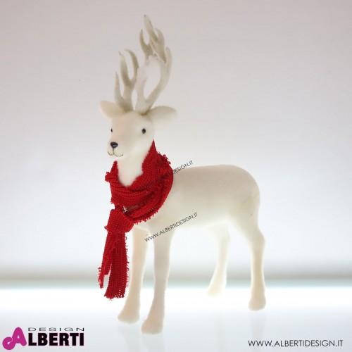 Renna bianca con sciarpa rossa H68cm