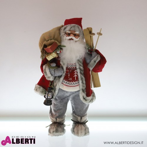 Babbo Natale rosso in plastica e tessuto H 68cm