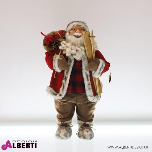 Babbo Natale decorativo rosso in plastica e tessuto H 60 cm
