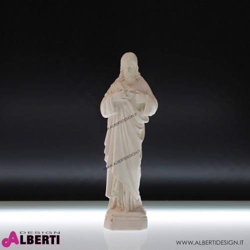 Statua Gesù in gesso bianca H 42cm