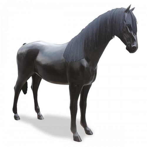 Cavallo in vetro resina nero con criniera L256xH210
