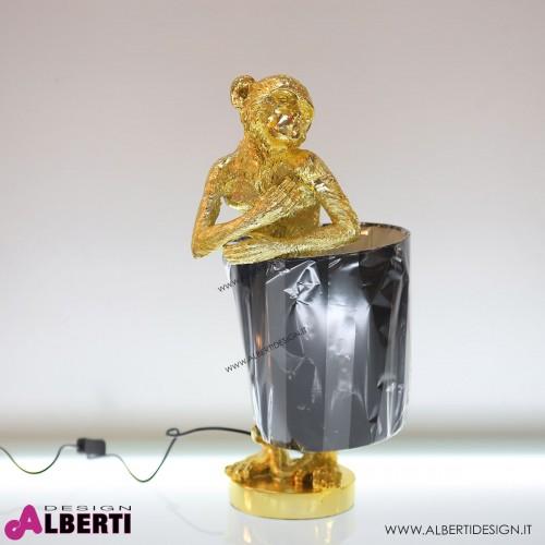 Lampada da tavolo con scimmia oro e paralume nero H 56 cm