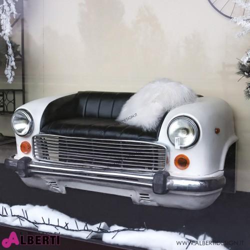 Divano auto bianco con pelle nera 175x85xH70 cm