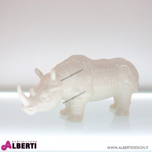 Rinoceronte bianco lucido in ceramica 50x18xH25