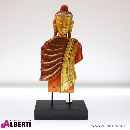 Buddha in legno decorato oro 28x10xh59
