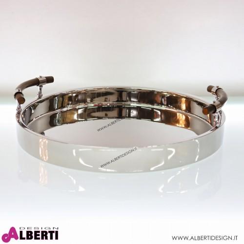 Vassoio in acciaio cromato maniglie legno Ø 55x6,5