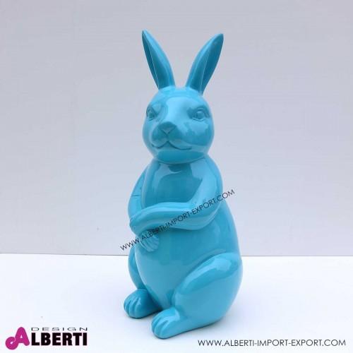Coniglio blu elettrico in vetro resina h50cm