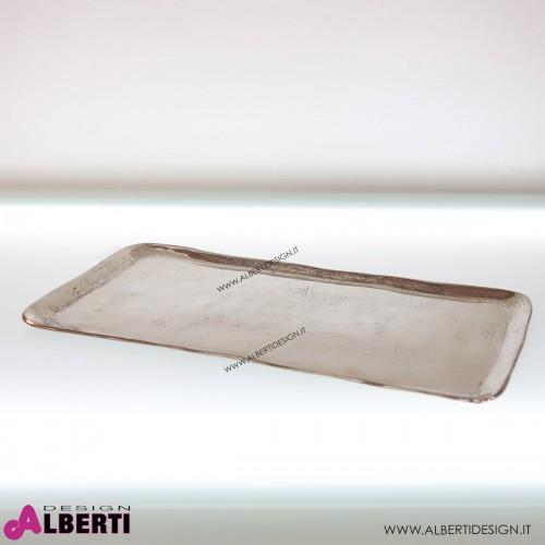 Vassoio rettangolare in alluminio lucido 60x34x2cm