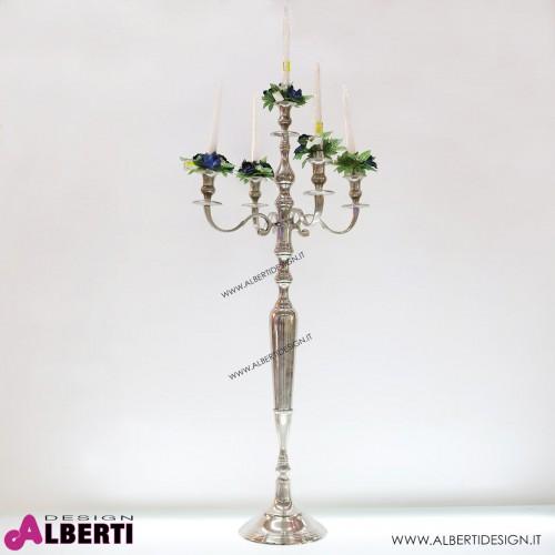 Candeliere in metallo cromato color argento 5 fuochi48x48xh100