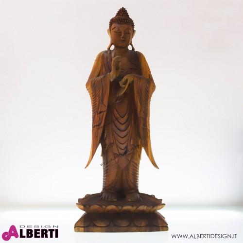 Buddha in legno bicolor 42x20xH100cm