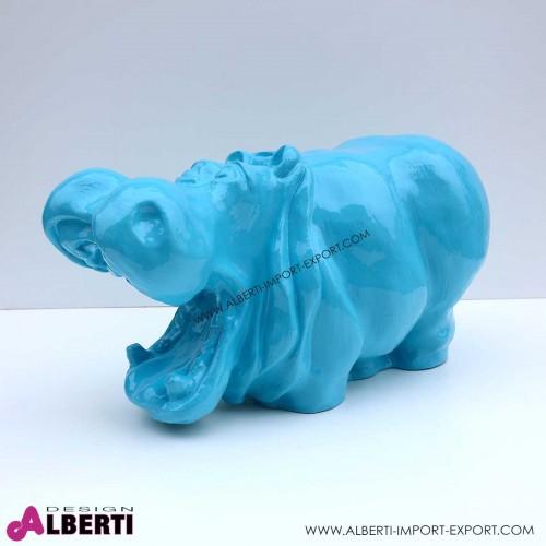 Ippopotamo blu elettrico in vetro resina 40x50 cm